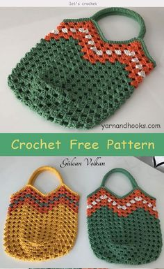 This Crochet Squares Bag Free Pattern is a colorful and stylish bag that's perfect for everyday use. The two patterns below allow you to choose between 2 different bags with two different levels… Bag Crochet, Crochet Market Bag, Crochet Handbags, Crochet Purses, Free Crochet, Knit Bag, Crochet Granny, Granny Square Bag, Bag Pattern Free