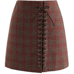 Chicwish Lace-Up Tribe Check Bud Skirt in Red Brown ($40) ❤ liked on Polyvore featuring skirts, brown, checkered skirt, tribal skirts, red skirt, checked skirt and brown skirt