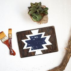 Navy Aztec Print Wood Sign