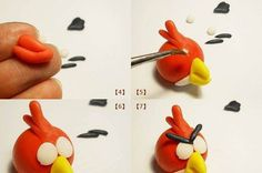 How to make an angry bird plasticine handmade simple learning steps(2)