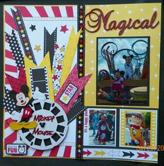 handmade scrapbook page, pg 1:  Disney World, Magic Kingdom, Mickey Mouse, Minnie Mouse, Woody, Lilo, A Dream Come True Parade  kit from trmemories.com