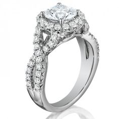 18K White Gold 0.95 ct Three Stone Diamond Ring Setting with a Split in the Shank BW-IAND