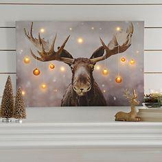 Holiday Moose LED Canvas Art Print | Kirklands