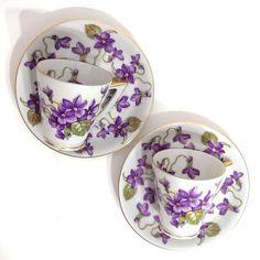 2 Mitterteich Bavaria Germany Teacups Saucers Violet Flowers Demitasse Gold Trim #Mitterteich