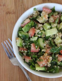 QUINOA SALAD (serves 1/532 cal):  1/2 cup quinoa, 1 cup water, 1 bunch flat-leaf parsley-washed-chopped-thick stems removed,  4 persian cucumbers-peeled in strips-seeded-diced,  2 med diced tomatoes, 1 ripe slightly firm diced avocado, 2 or 3 tbsp evoo, Salt and pepper to taste.  In a small saucepan, bring water and salt to a boil. Stir in quinoa, cover, and lower the heat to simmer. Cook for 15 min. Put quinoa into a medium-size mixing bowl, and cool. Add parsley, cucumbers, tomatoes…