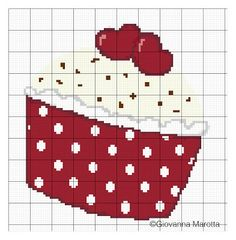 This Pin was discovered by Ümm Cupcake Cross Stitch, Cross Stitch Heart, Cross Stitching, Cross Stitch Embroidery, Embroidery Patterns, Cross Stitch Designs, Cross Stitch Patterns, Pinterest Cross Stitch, Cross Stitch Kitchen