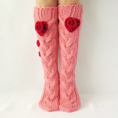 Hand made pink socks Perfect Valentine's Day gift by - Super knitting Knitted Slippers, Wool Socks, Slipper Socks, Knitting Socks, Hand Knitting, Pink Socks, Winter Socks, 2015 Trends, Leg Warmers