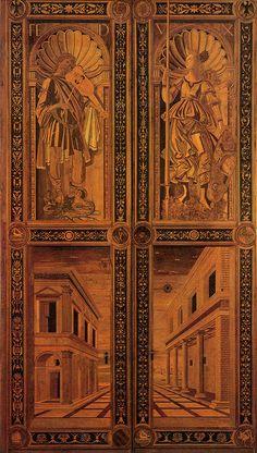 Attributed to Sandro Botticelli (Alessandro di Mariano di Vanni Filipepi) (1445 – 1510)  Door  Intarsia, about 1474  364 x 210 cm  Palazzo Ducale, Urbino, Italy