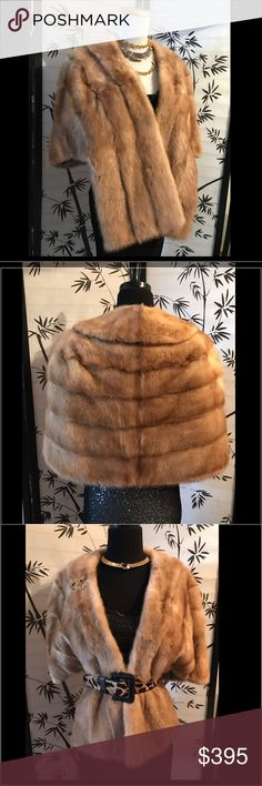 🍁🍂Beautiful Butterscotch Caramel 💯Real Mink Fur 🍁🍂 This Beautiful Butterscotch Caramel 💯Real Mink Fur is so GORGEOUS! It's made by Bloom Furs & has a pretty Champagne Satin lining on the inside~the two pockets are also lined with the matching Satin Lining ~(all accessories in the photo are just to show how you can jazz up the this fur to make it your own style) This beautifully well taken fur will bring you years of glamour & style ~ perfect for that special Wedding or Holiday Party…