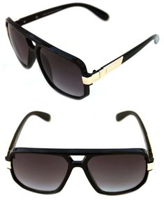 0ff29b240283 Men s Hip Hop 80 s Vintage 627 Polished Black Gold Sunglasses RUN DMC  Aviator  Unbranded