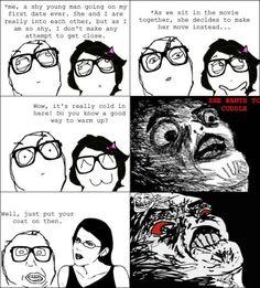 Awkward date rage comic.