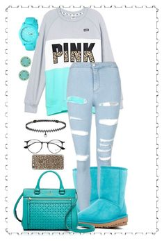 """""""Untitled #151"""" by xxtwinkz ❤ liked on Polyvore featuring UGG, Victoria's Secret, Topshop, Kate Spade, BERRICLE, Ray-Ban, Casetify and Lacoste"""