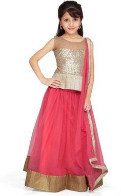 K&U Self Design Girl's Ethnic - Buy Gold,Peach K&U Self Design Girl's Ethnic Online at Best Prices in India | Flipkart.com