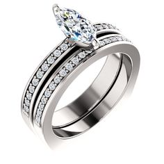 0.75 Ct Marquise Diamond Engagement Ring 14k White Gold – Goldia.com