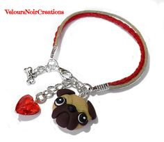 pug bracelet with hand crafted with polymer clay lanyard red heart and bon