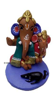 Terracotta Ganesha. Chotu Ganapati with Big Ganapati. Showering all His love and blessing