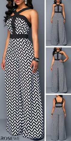 Sleeveless Wide Strap Chevron Print Black Jumpsuit at Diyanu African Print Fashion, African Fashion Dresses, African Dress, African Print Jumpsuit, Girl Fashion, Fashion Outfits, Black Jumpsuit, Classy Dress, Jumpsuits For Women