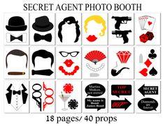 James Bond Photo Booth Props 41 Pieces 34 di HappyFiestaDesign