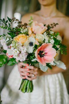 anemone and rose bouquet, photo by Emily Delamater http://ruffledblog.com/flanagan-farm-wedding #weddingflowers #weddingbouquet #flowers