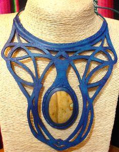 pectoral en cuero calado azul con jaspe   leather collars stone Semi Precious Gemstones