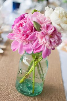 Perfectly pretty pink peonies in aqua mason jar <3