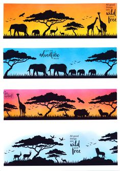 Create a gorgeous safari scene with these stylish silhouette stamps. African Animals, African Safari, African Art Paintings, Silhouette Art, Animal Silhouette, African Masks, Animal Cards, Hero Arts, Art Plastique