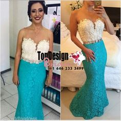 Blue/Green Lace Mermaid Pearl Beaded Applique Long Women's Evening Prom Dress