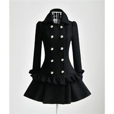Elegant Lotus Trimming Double-breasted Wool Coat - Polyvore