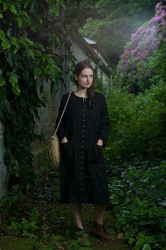 Black Linen Buttoned Dress / Coat by KnockKnockLinen