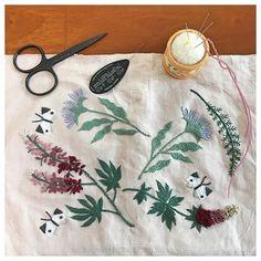 * 「チョウの楽園」の図案を散らして がま口を作ります☘️ #樋口愉美子 #樋口愉美子の刺繍時間 #アップルトン #刺繍