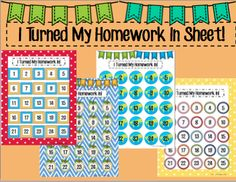 Monitor when students turn their homework in. This sheet is great to laminate and then students can color in their number with an expo marker once they turn their homework in.