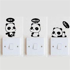 12 styles Creative Carton Panda switch sticker vinilos paredes Wall Stickers kids room mural wall sticker Home Decor (Mainland))