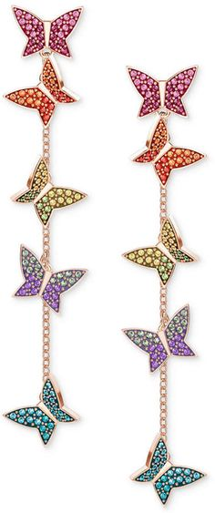 4175534173a08d Swarovski Lilia Rose Gold-Tone Plated Mixed-Metal Multi-Colored Earrings