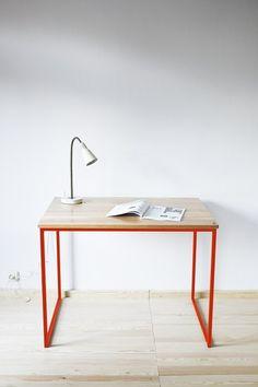 Schreibtisch, Tisch, Industrial Red, Marsala von Projekt Drewno auf DaWanda.com