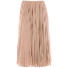 Chloé - Chiffon Pleated Skirt in pink (nude) | Lyst ❤ liked on Polyvore featuring skirts, bottoms, faldas, beige pleated skirt, nude skirt, chiffon knee length skirt, pink pleated skirt and chiffon skirt