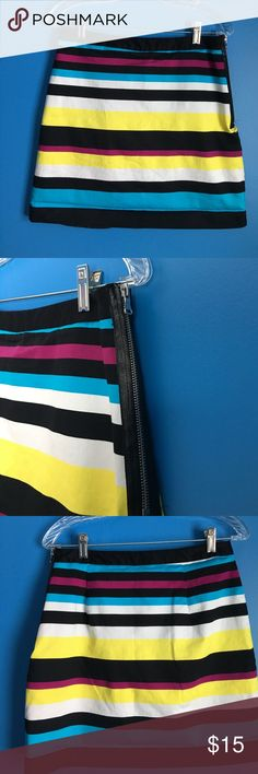 """Striped multi color skirt Great skirt you can dress up with a pair of heels and blouse or can be worn casually with a t-shirt and flats. A must have addition for your spring/summer wardrobe. Size 6. 16 1/2"""" long Worthington Skirts"""