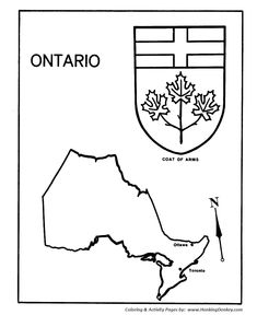 Canada Day - Ontario - Map / Coat of Arms Coloring Pages Canada For Kids, Canada Day, Flag Coloring Pages, Coloring Sheets, Printable Maps, Free Printable, Printables, Canadian Quilts, Teaching Social Studies