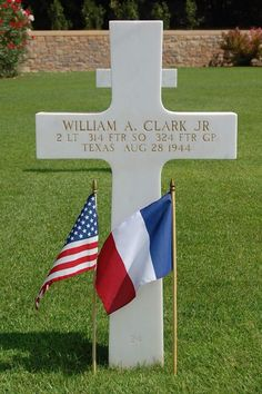 Second Lieutenant William A. Clark, Jr.  U.S. Army Air Forces 314th Fighter Squadron, 324th Fighter Group Entered Service From: Texas Service # O-763495 Date of Death: August 28, 1944 Buried: Plot C Row 6 Grave 24 Rhone American Cemetery Draguignan, France