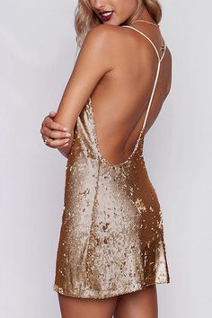 Sparkle Sequins Open-Back Slip Mini Dress in Golden