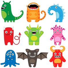 Illustration about Set of different cute funny cartoon monsters. Illustration of cartoon, drawing, face - 21236404 Funny Monsters, Cartoon Monsters, Little Monsters, Mini Monster, Monster Party, Monster Face, Funny Character, Character Design, Image Monster