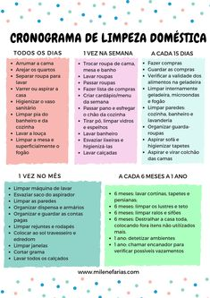 Pin by Viviane Carvalho on Dicas de limpeza da casa in 2019 Home Organisation, Life Organization, House Cleaning Checklist, Cleaning Hacks, Weekly Cleaning, Organizing Tips, Flylady, Personal Organizer, Home Health