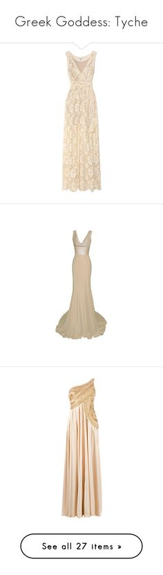 """""""Greek Goddess: Tyche"""" by storycosmicjasmine ❤ liked on Polyvore featuring dresses, gowns, vestidos, long dress, cream lace dress, lace maxi dress, lace evening gowns, lace dress, sheer lace dress and long dresses"""