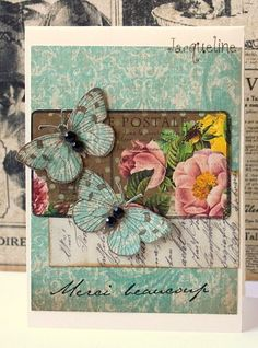 Using the Carte Postal set. I stamped on a nice piece of patterned paper. Used the butterflies (which I just LOVE) from the Antique engravings set using the same PP for the background as for the butterflies and added a scrap piece of paper.