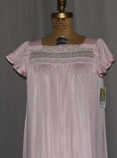 Vintage 1960s Night Gown Pink Nylon Long by ladysslippervintage