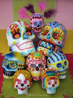 Day of the Dead Art: A Gallery of Colorful Skull Art Celebrating Dia de los Muertos — Art is Fun Sugar Skull Images, Sugar Skull Art, Sugar Skulls, Famous Day, Colorful Skulls, How To Draw Steps, All Souls Day, Day Of The Dead Skull, Skull Painting
