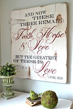 """Faith, Hope & Love"" Wood Sign 