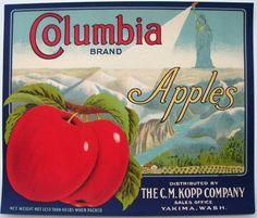 COLUMBIA Vintage Yakima Washington Apple Crate Label