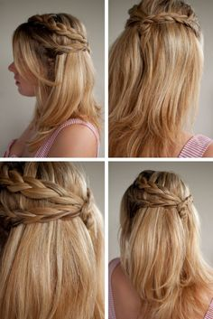 triple plait half up hairstyle collage