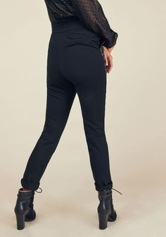 Nobody can rock unique duds quite like you do, so parade these black ponte pants like the singular stylista that you are! Part of our ModCloth namesake label, these skinnies showcase trouser pockets and pink rose embroidery that vines down the thighs, marking you as a true maestro of chic fashion.