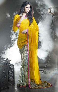 Picture of Majesty Yellow and Off White Color Casual Saree